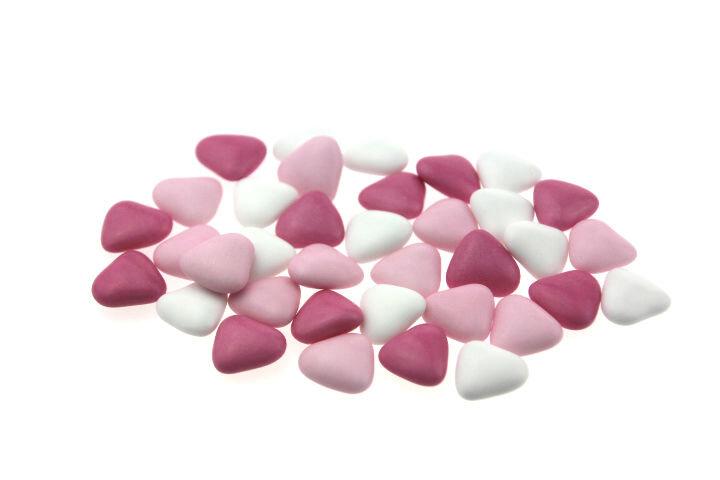 Doopsuiker hartjes roze wit fuchsia