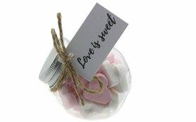 Bedankjes voorraadpotje hartjes roze wit