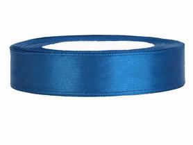 Blauw satijn lint 1 cm breed