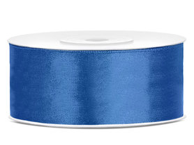 Blauw satijn lint 25 mm breed