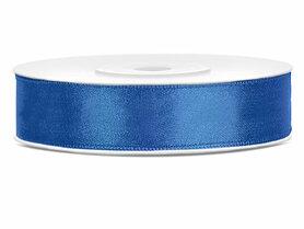 Blauw satijn lint 1.2 cm breed
