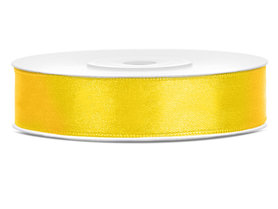 Geel satijn lint 1.2 cm breed