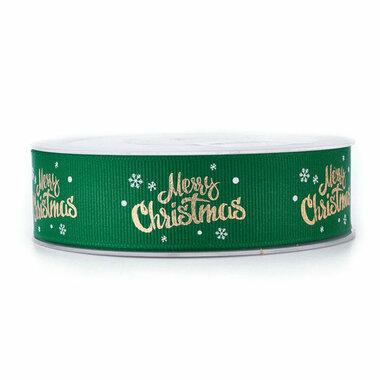Kerstlint merry christmas en ijskristal groen 25 mm breed