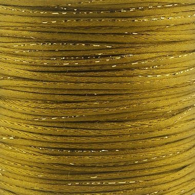 Satijn koord 2 mm goud met goud draad