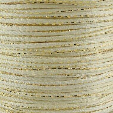 Satijn koord 2 mm ivoor met goud draad