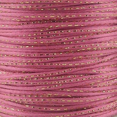 Satijn koord 2 mm roze met goud draad