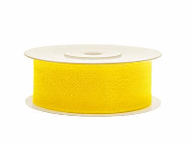 Organza lint 25 mm geel