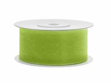 Organza lint 38 mm lime groen 25 meter rol