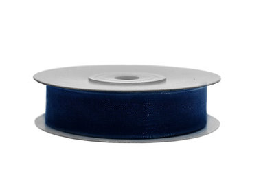 Organza lint 25 mm donker blauw