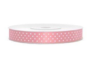Satijn lint roze met witte stippen
