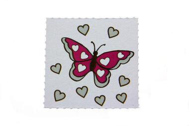 10 labels voor doopsuikerdoosje Vlinder Fuchsia