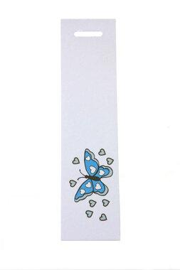 6 langwerpige labels voor doopsuikerdoosje vlinder aqua