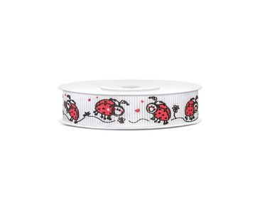 Grosgrain lint lieveheersbeestjes 15 mm breed