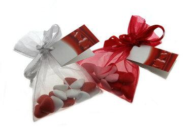 Bedankjes Organza zakjes rood wit