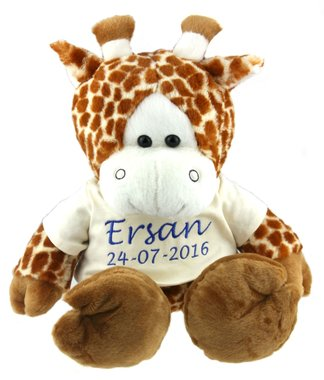 Giraffe met naam 45 cm