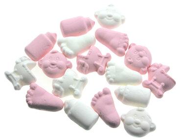 Geboortesnoepjes foam wit roze
