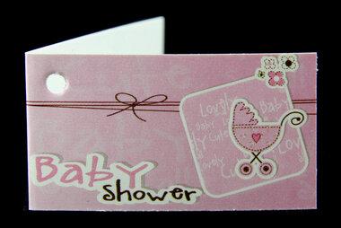 Kaartjes voor doopsuiker babyshower roze kinderwagen