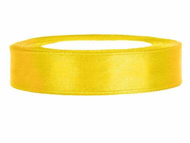 Geel satijn lint 1 cm breed