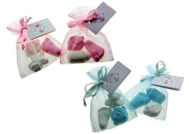 Geboortebedankjes organza zakjes foam baby mix