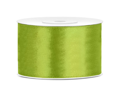 Lime groen satijn lint 38 mm breed