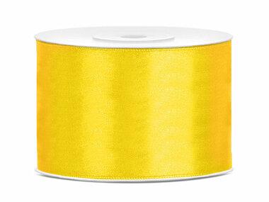 Geel satijn lint 5 cm breed