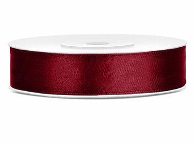 Bordeaux rood satijn lint 1.2 cm breed