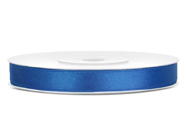 Blauw satijn lint 6 mm breed