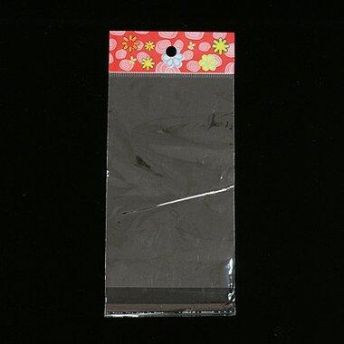 Cellofaan zakjes 9 x 16 cm rood met bloemetjes MET OPHANGOOG 10 stuks