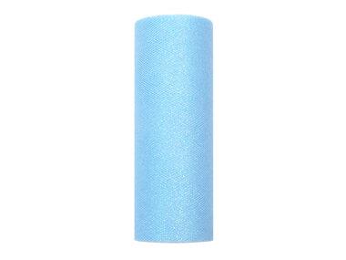 15 cm Tule lint licht blauw glitter
