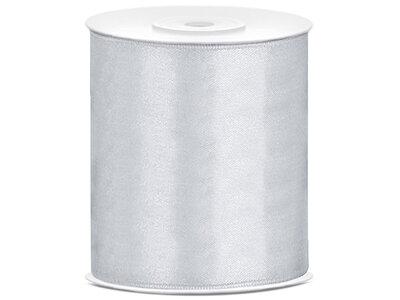 Zilver satijn lint 10 cm breed