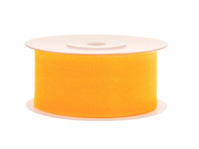 Organza lint 38 mm geel 25 meter rol