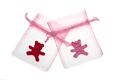 Organza zakje licht roze met satijn jurkje roze en fuchsia