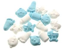 Geboortesnoepjes foam wit licht blauw